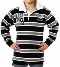 Boys And Girls Edinburgh Rugby Shirt In Grey Navy Long Sleeve 12-13 years