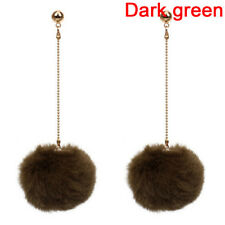 Fur Pom Pom Dangle Earrings Ball Long Chain Tassel Drop Earrings Jewelry STUK