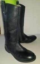 ZARA Girls navy blue leather zip boots. 37 7 6.5