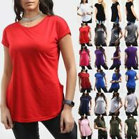 Ladies Womens Curved Hem Jersey Solid Top Round Neck Turn Up Cap Sleeve T Shirt