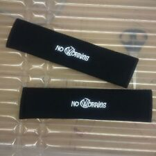 VW seat belt pads with embroidered No Worries grafitti VW logo.