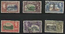 Trinidad & Tobago Scott #51, 52A & 55-58, Singles 1938-41 FVF Used