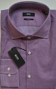 NWT Hugo Boss Black Label By Hugo Boss Diamond Cotton Sharp Fit Dress Shirt