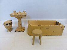 VTG ARCADE Toys Cast Iron Dollhouse Miniatures Bathroom Tub,Sink,Toilet,Chair