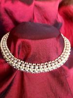 Vintage Multi Strand Pearl Choker Collar Necklace Rhinestone Paste Clasp Bridal