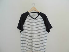 Men's American Rag White & Navy Striped V-neck Shirt Size XL