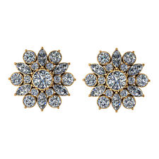 14k Yellow Gold on 925 Sterling Silver Round Flower Cluster Stud Earrings Women