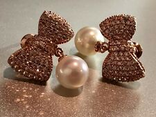 18k Rose Gold Plated Fresh Water Pearl Bow Earrings w/ Swarovski Crystal Quality