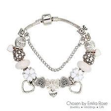 Rhinestone Silver Plated Love & Hearts Costume Bracelets