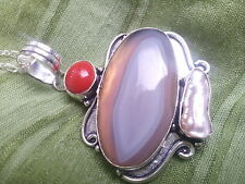 Gorgeous Botswana Agate and Biwa Pearl Vintage Design Pendant with Chain.