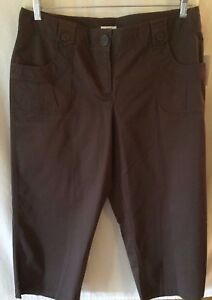 Liz & Co Capri Size 14 Cropped Pants Brown Stretch Front & Back Pockets NWT