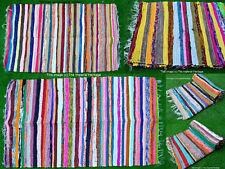 Indian Garden Decor Handmade Woven Chindi Dari Twin Vintage Cotton Carpet Rugs