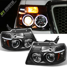 2004-2008 Ford F150 F-150 Halo LED Projector Black Headlights Headlamp Set 04-08
