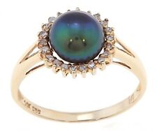14KT YELLOW GOLD BLACK BUTTON PEARL AND DIAMOND RING