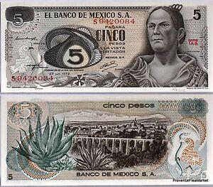 Mexico Ticket New Of 5 Pesos Pick62C Queretaro Aloe 1972