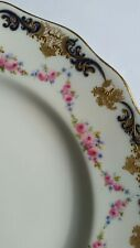 Antique Cabinet Plate Doulton Burslem handpainted rose swag cobalt gold crusted