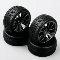 Set of 4pcs 1:10 RC On Road Racing Car Black Wheel Rims Rubber Tires Foam Insert