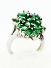 Zambian Emerald 2.59 Ct. w/ White Topaz Accent Flower Ring, Size 5St Silver