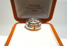 AUTHENTIC HERMES Enamel Double *H* Move Sterling Silver Ring *CHOOSE YOUR COLOR*