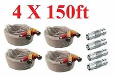 *(4) Pcs 150ft Siamese Premade BNC Video Power Cable for Security HD Camera - W