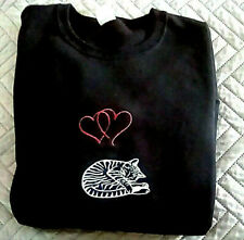 Cat Embroidered Black Sweatshirt Double Hearts Cat Nap