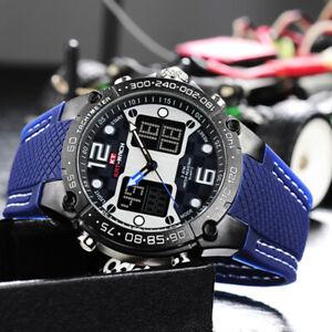 KAT-WACH Mens Sport Watch Waterproof Silicone Strap Dual Display Chronograph UK
