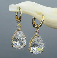Ohrringe Hänger Zirkonia Kristall weiss 750 Gold 18 Karat vergoldet O1265-1L