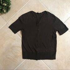 Ann Taylor LOFT Women XS Brown Button Down Sweater Short Sleeve Cardigan 215