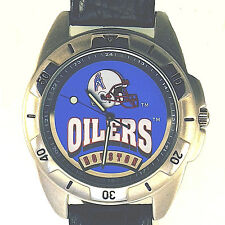 Houston Oilers New Unworn Fossil NFL Vintage Mans Watch, Black Leather Band! $79