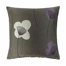 """2 X  ROME WOVEN FLORAL FLOWER LEAF BROWN HEATHER CREAM CUSHION COVERS 18"""" Z2"""