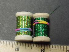 "2 Spools Extra Thin Flat ""Greens"" Holographic Tinsel Flash Ribbing, 24 Yards"