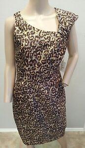 NWT Tracy Reese LEopard Spotted Animal Print Wool Silk Sheath Dress 6