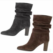 Ladies Pointed Toe Slouch Block Heels Mid Calf Calf Rouched Shoes Outwear 34-45
