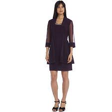 R&M Richards - Plum Bead Jacket Dress , size: 14  , color- Plum