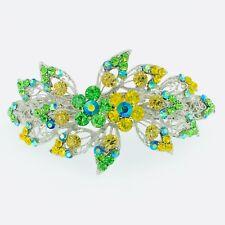 USA BARRETTE use Swarovski Crystal Hair Clip Hairpin Elegant Vintage Green V2