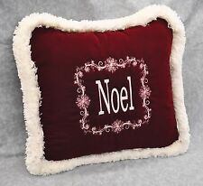 "Embroidered Christmas Noel Pillow made w Burgundy Nylon Velvet Fabric 16"" fringe"