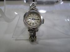Vintage Lucien Piccard Ladies 14K White Gold Wrist Watch w/Garnet Band