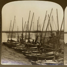 New ListingChina, Tianjin: Fishing Boats on the Hai He River - Old Stereoview Photo