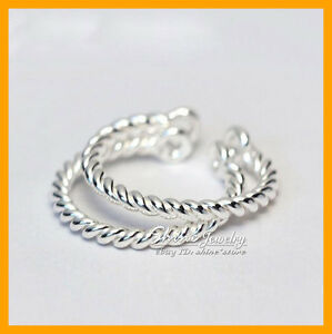 925 Solid Sterling Silver Adjustable Size Vintage Toe Rope Cuff Ring womens gift