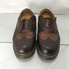 Vintage Doc Marten Size 10 Punch Oxford Brogue Wing Tip Shoes Brown Lace Up