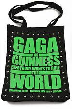 "E.vil Womens Cotton Tote Bag ""Gaga Poster Print Neon Green with Spikes"" Black"