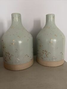 hearth and hand With magnolia Stoneware Vase Gold Sparked New Set Of Two