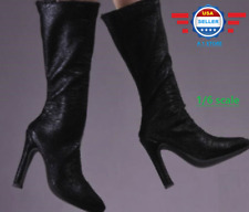 "1/6 scale BLACK Leather Boots HOLLOW for 12"" PHICEN female figure"