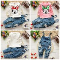 2pcs Kids Girl Baby Cartoon Minnie Mouse T-shirt+Denim Pants Overalls Clothes
