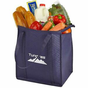 Reusable Insulated Grocery Bags - 2 Pack, Navy - 7.5 Gallon Thermal Cooler Tote