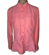 World Wide Sportsman Womens Large Vented Shirt Roll Tab Sleeve Button Up Coral