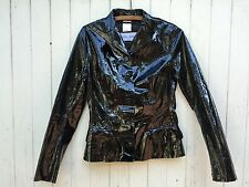 DOLCE & GABBANA black PATENT LEATHER jacket genuine leather d&g glossy shiny