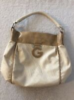 G by GUESS Rinnah Shoulder Bag Purse Handbag Tote Satchel Tan Cream Beige