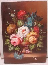 "Oil Painting on Wooden Panel - Still Life Floral Scene - 7"" x 5"" - Hand Painted"