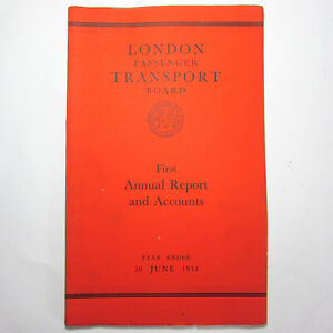 1934 London Passenger Transport Board first 1st Annual report & Accounts vintage